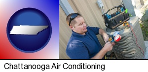 Chattanooga, Tennessee - an HVAC contractor servicing an air conditioner