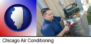 Chicago, Illinois - an HVAC contractor servicing an air conditioner