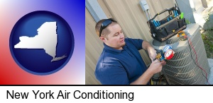 New York, New York - an HVAC contractor servicing an air conditioner