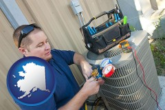 alaska map icon and an HVAC contractor servicing an air conditioner