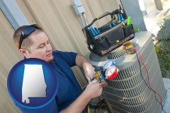 alabama map icon and an HVAC contractor servicing an air conditioner