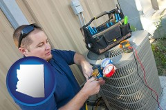 arizona map icon and an HVAC contractor servicing an air conditioner
