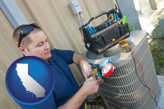 california an HVAC contractor servicing an air conditioner