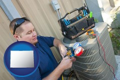 colorado map icon and an HVAC contractor servicing an air conditioner