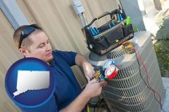 connecticut an HVAC contractor servicing an air conditioner