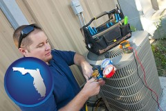 florida map icon and an HVAC contractor servicing an air conditioner