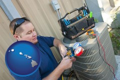 hawaii an HVAC contractor servicing an air conditioner