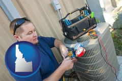 idaho an HVAC contractor servicing an air conditioner