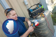 illinois an HVAC contractor servicing an air conditioner