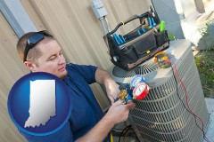 indiana map icon and an HVAC contractor servicing an air conditioner