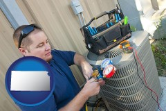 kansas an HVAC contractor servicing an air conditioner