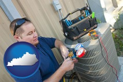 kentucky an HVAC contractor servicing an air conditioner