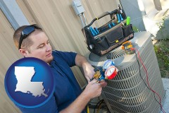 louisiana map icon and an HVAC contractor servicing an air conditioner