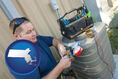 massachusetts HVAC contractor servicing an air conditioner