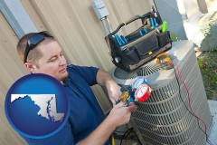 maryland map icon and an HVAC contractor servicing an air conditioner