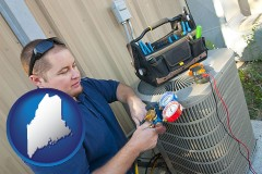 maine an HVAC contractor servicing an air conditioner