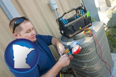 minnesota map icon and an HVAC contractor servicing an air conditioner