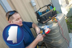mississippi map icon and an HVAC contractor servicing an air conditioner