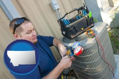 montana an HVAC contractor servicing an air conditioner