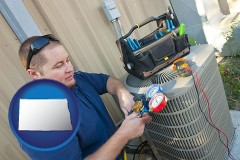 north-dakota HVAC contractor servicing an air conditioner