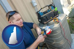 new-hampshire HVAC contractor servicing an air conditioner
