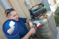 new-jersey an HVAC contractor servicing an air conditioner
