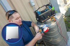 new-mexico an HVAC contractor servicing an air conditioner