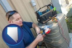 nevada HVAC contractor servicing an air conditioner