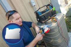 oregon an HVAC contractor servicing an air conditioner