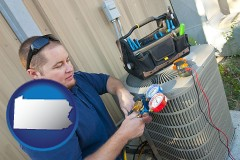 pennsylvania map icon and an HVAC contractor servicing an air conditioner
