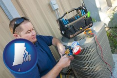 rhode-island an HVAC contractor servicing an air conditioner