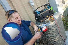 south-carolina an HVAC contractor servicing an air conditioner