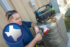 texas map icon and an HVAC contractor servicing an air conditioner