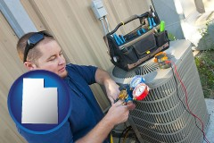 utah map icon and an HVAC contractor servicing an air conditioner