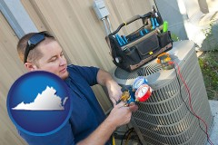 virginia map icon and an HVAC contractor servicing an air conditioner