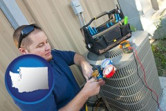 washington HVAC contractor servicing an air conditioner