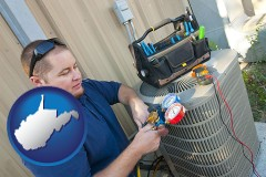 west-virginia an HVAC contractor servicing an air conditioner
