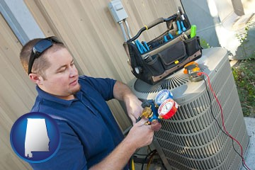 an HVAC contractor servicing an air conditioner - with Alabama icon
