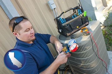 an HVAC contractor servicing an air conditioner - with California icon