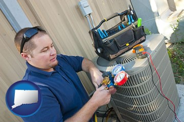 an HVAC contractor servicing an air conditioner - with Connecticut icon