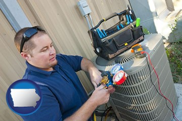 an HVAC contractor servicing an air conditioner - with Iowa icon