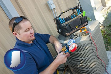 an HVAC contractor servicing an air conditioner - with Indiana icon