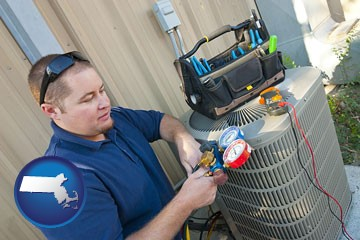 an HVAC contractor servicing an air conditioner - with Massachusetts icon
