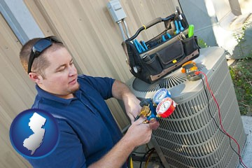 an HVAC contractor servicing an air conditioner - with New Jersey icon