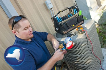 an HVAC contractor servicing an air conditioner - with New York icon