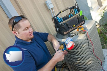 an HVAC contractor servicing an air conditioner - with Washington icon