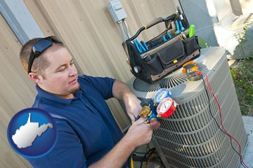 an HVAC contractor servicing an air conditioner - with West Virginia icon